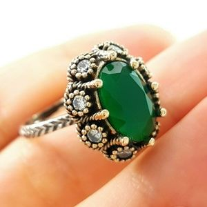 Solid .925 Handmade Emerald Sultan Ring Size 7